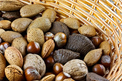 Mixed nuts in basket Stock Image