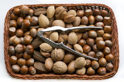 Mixed nuts in a basket horizontal Royalty Free Stock Photo