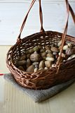 Mixed nuts in basket Royalty Free Stock Photography