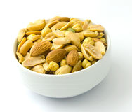 Mixed nuts. Bowl of various unsalted nuts Stock Photos