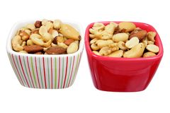 Mixed Nuts in Bowls Royalty Free Stock Photography