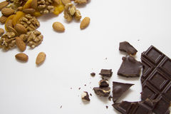 Mixed nuts with chocolate Royalty Free Stock Photography