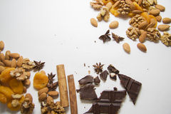 Mixed nuts with chocolate Royalty Free Stock Photos