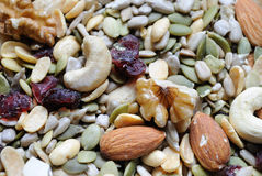 Mixed Nuts and Cranberries. A healthy mix of nuts and dried cranberries Royalty Free Stock Image