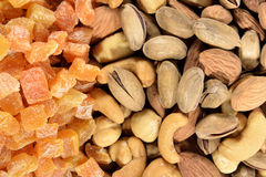 Mixed nuts and dried apricots Royalty Free Stock Image
