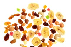 Mixed nuts, dried and candied fruits Royalty Free Stock Images