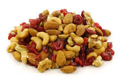 Mixed nuts and dried cranberries Stock Photography