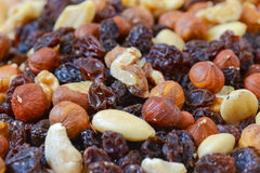 Mixed nuts and dried fruits Stock Photography