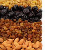 Mixed nuts and dried fruits. Almonds, raisins. Mixed nuts and dried fruits. Almonds, raisins and prunes Stock Photography