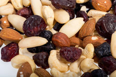 Mixed nuts and dried fruits Stock Photos