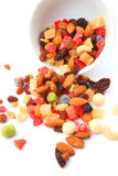 Mixed nuts and dry fruits in a bowl Royalty Free Stock Photography