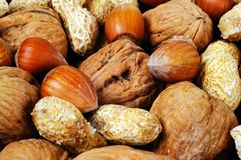 Mixed nuts food background. Stock Photo