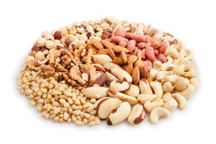 Mixed nuts heap Royalty Free Stock Images