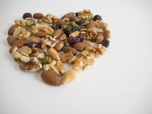Mixed Nuts in Heart Shape Royalty Free Stock Image