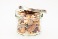 Mixed nuts with jar Royalty Free Stock Images