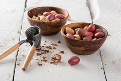 Mixed Nuts and Nutcracker Royalty Free Stock Images