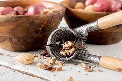 Mixed Nuts and Nutcracker Royalty Free Stock Photography