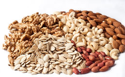 Mixed nuts and pumpkin seeds Royalty Free Stock Image