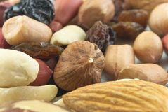 Mixed Nuts and Raisins Closeup Royalty Free Stock Image