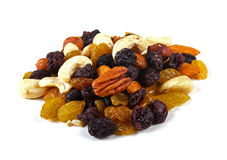 Mixed nuts and raisins isolated on white Royalty Free Stock Photos