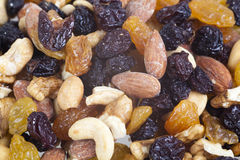 Mixed nuts and raisins. Mix stock photos
