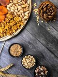 Mixed Nuts, seeds, beans on wooden background Healthy food and snack, food than boost brain stock image