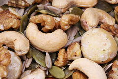 Mixed Nuts and seeds the healthy choice Royalty Free Stock Photography