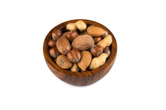 Mixed nuts in shells in a bowl Stock Photos