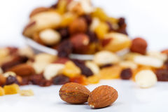 Mixed nuts and sultanas on a plate on a white background Royalty Free Stock Photography