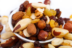 Mixed nuts and sultanas on a plate on a white background Stock Images