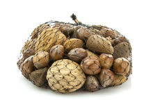 Mixed nuts - walnuts, hazelnuts, almonds in a net bag Stock Images