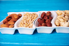 Mixed of nuts in wave plate Royalty Free Stock Photography