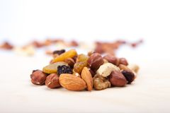 Mixed Nuts. On white background stock photo