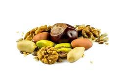 Mixed nuts on white backround Stock Photos