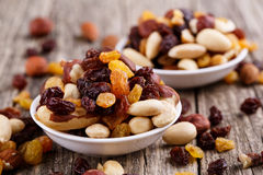 Mixed nuts on a white plate. Stock Images