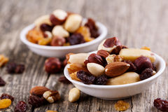 Mixed nuts on a white plate. Royalty Free Stock Image