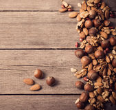 Mixed nuts on wooden background Stock Photography