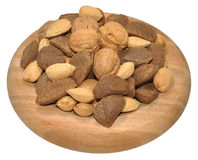 Mixed Nuts In Wooden Dish Stock Photo