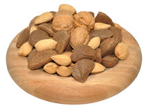 Mixed Nuts In Wooden Dish Stock Images