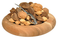 Mixed Nuts In Wooden Dish Stock Photography