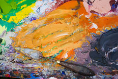 Mixed oil colors and painting tool Stock Photo