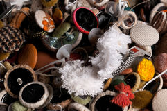 Mixed old used textile buttons. Close up of textile upholstery buttons mixed and not assorted Stock Photography