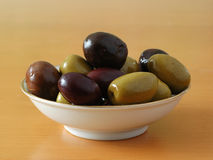Mixed olives. Black and green olives in a tapas bowl Royalty Free Stock Photo
