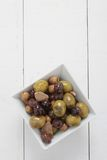 Mixed olives antipasto in dish Royalty Free Stock Image