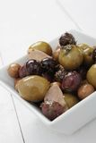 Mixed olives antipasto in dish Royalty Free Stock Photography