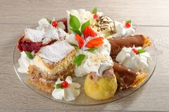 Mixed oriental dessert plate Royalty Free Stock Image