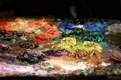 Mixed paint colors Stock Photo