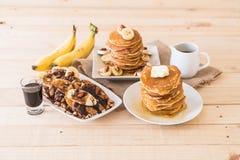 Mixed pancake menu. Almond banana pancake with chocolate syrup ,almond banana pancake with honey and chesse pancake Royalty Free Stock Photography