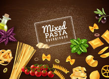 Mixed Pasta Background. Realistic brown background with mixed kinds of pasta and various extra ingredients vector illustration Stock Photo