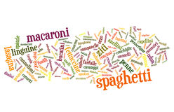 Mixed Pasta & Noodles. Word cloud of the names of pasta and noodles around the world Stock Images